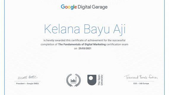 Sertifikasi Fundamentals of digital marketing Kelana Bayu Aji