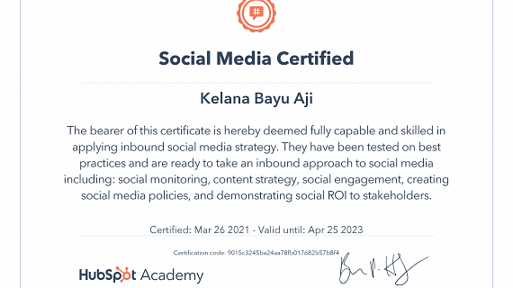 Sertifikasi Sosial Media Marketing Hubspot Kelana Bayu Aji