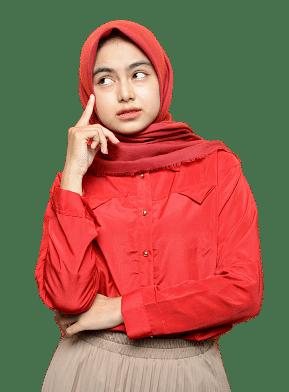 Wanita Muslim Hijab Mikir Bisnis Online Cuan Hunter