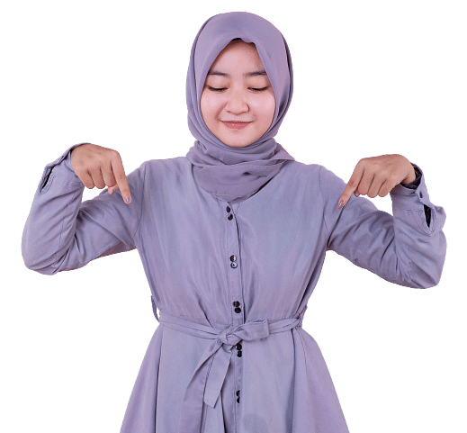 Wanita Muslim Hijab Tunjuk Bawah Bisnis Online Cuan Hunter