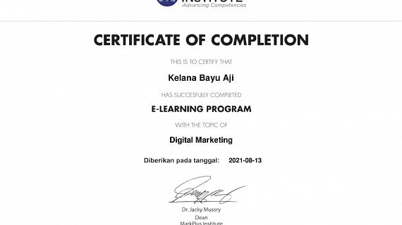 Markplus Digital Marketing Certificate Kelana Bayu Aji