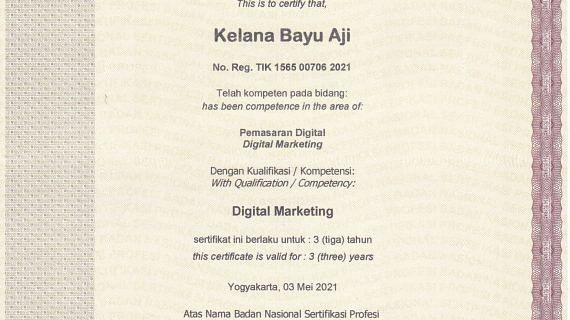 Sertifikasi Digital Marketing BNSP Kelana Bayu Aji